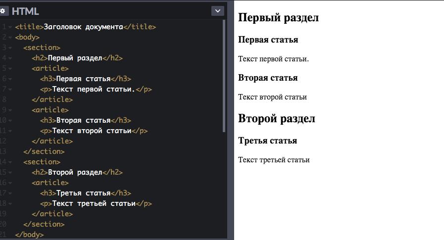 Расположение контента с помощью тега article с вложением в  тег section