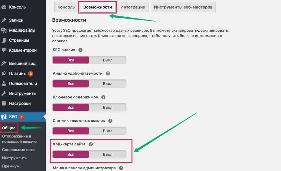Настройка XML Sitemap в плагине Yoast SEO