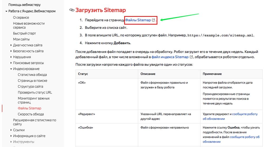 Добавление Sitemap в Yandex