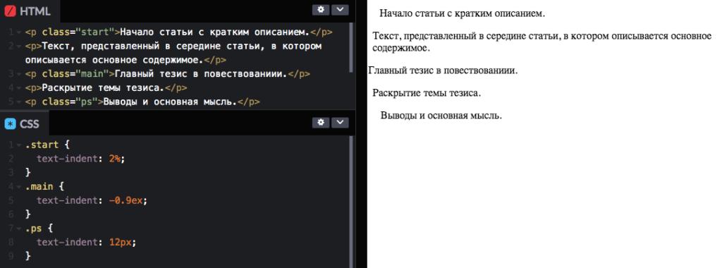 Применение классов CSS со свойством text-indent для персонализации текста