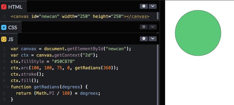 Круг при помощи тега html canvas