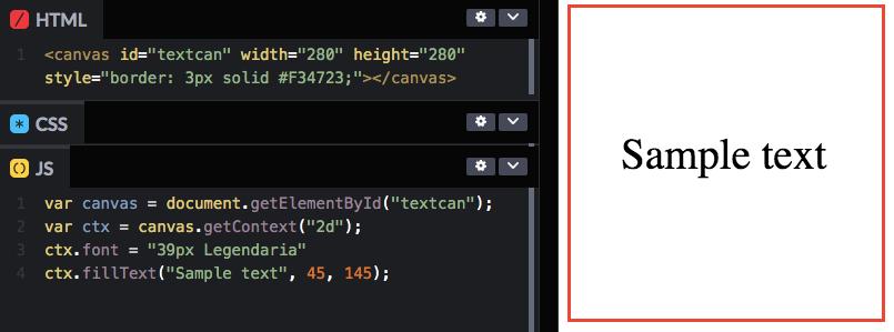Текст при помощи тега html canvas