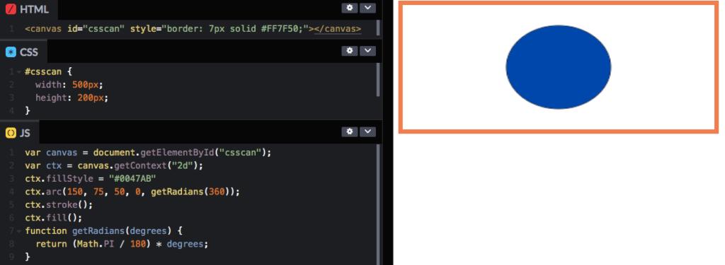Использование CSS для указания высоты и ширины тега canvas